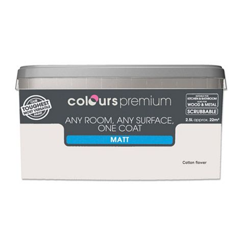 Colours Premium Any Room One Coat Cotton Flower Matt Emulsion Paint 2.5L