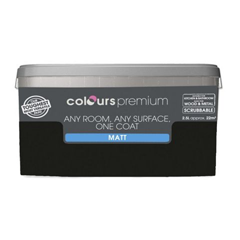 Colours Premium Any Room One Coat Black Matt Emulsion Paint 2.5L
