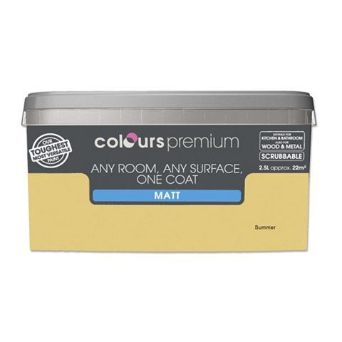 Colours Premium Any Room One Coat Summer Matt Emulsion Paint 2.5L
