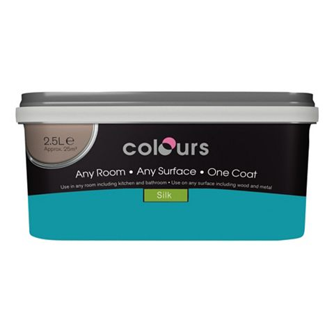 Colours Premium Any Room One Coat Tropez Blue Silk Emulsion Paint 2.5L