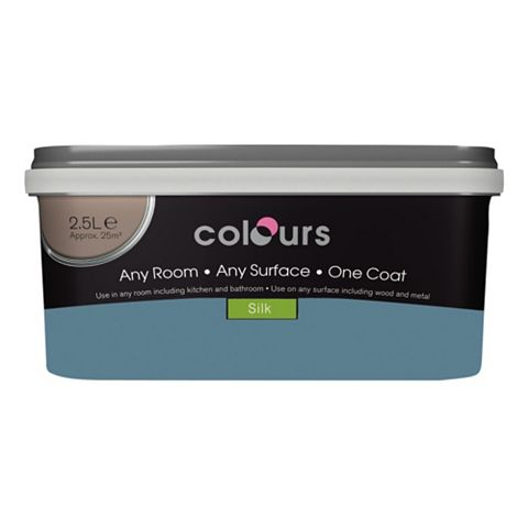 Colours Premium Any Room One Coat Blue Ocean Silk Emulsion Paint 2.5L