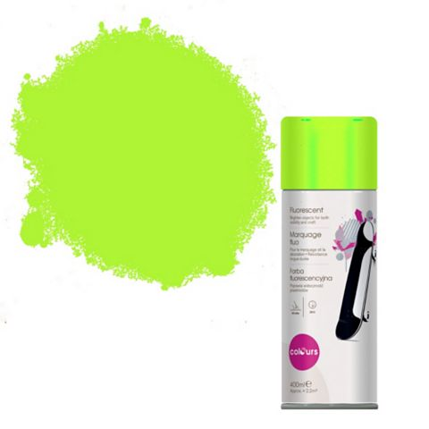 Colours Green Fluorescent Satin Spray Paint 400ml Steel Spray Can