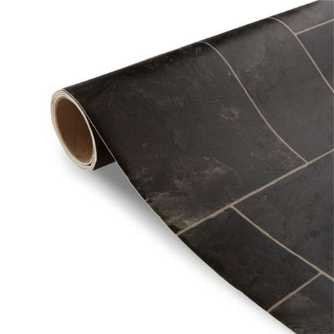 Colours Octavina Black Tile Effect Vinyl 4 m² Sheet