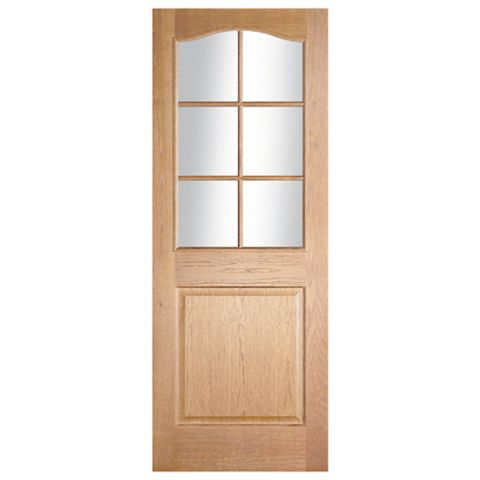 2 Panel Arched Oak Veneer Internal Door, (H)1981mm (W)762mm