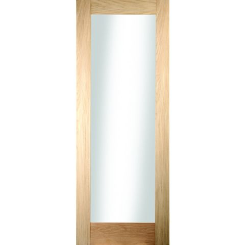 1 Panel Shaker Oak Veneer Glazed Internal Door, (H)1981mm (W)686mm