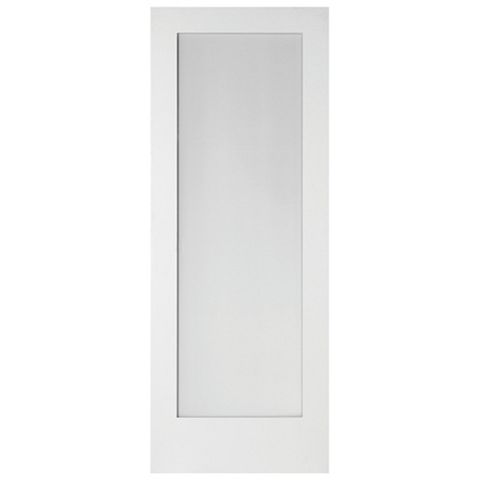 1 Panel Shaker Primed Glazed Internal Door, (H)1981mm (W)610mm