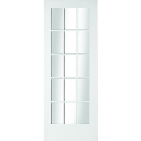 15 Lite Primed Smooth Glazed Internal Door, (H)1981mm (W)762mm