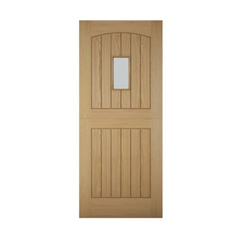Cottage Stable Panelled White Oak Veneer Timber Glazed External Front Door, (H)2032mm (W)813mm