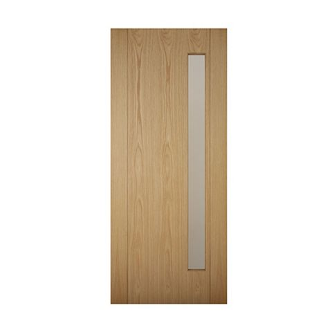 Contemporary Grooved Panel White Oak Veneer Timber Glazed External Front Door, (H)2032mm (W)813mm