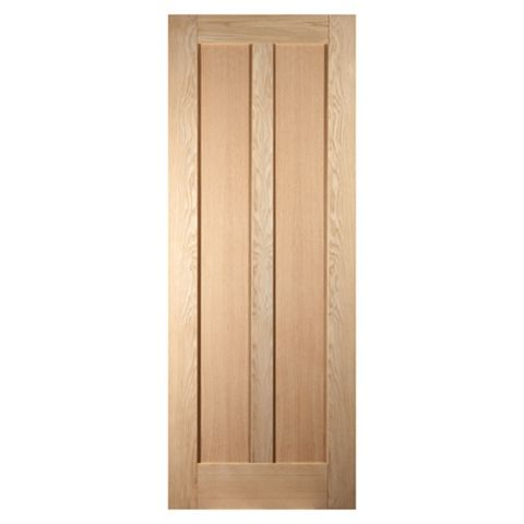 Vertical 2 Panel Oak Veneer Internal Unglazed Door, (H)1981mm (W)838mm