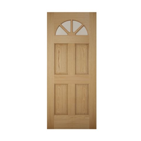 Carolina White Oak Veneer Timber Glazed External Front Door, (H)1981mm (W)762mm