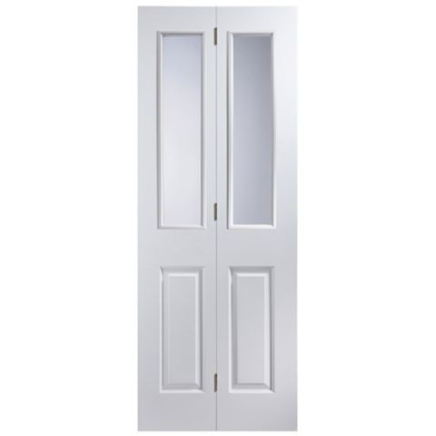 4 Panel 2 Lite Primed Smooth Glazed Internal Bi-Fold Door, (H)1950mm (W)750mm
