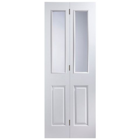 4 Panel 2 Lite Primed Smooth Glazed Internal Bi-Fold Door, (H)1981mm (W)686mm