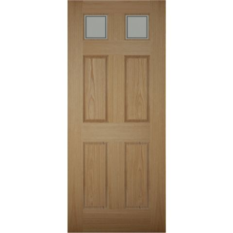 Henley 6 Panel White Oak Veneer Timber Glazed External Front Door, (H)2032mm (W)813mm