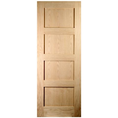 4 Panel Shaker Oak Veneer Internal Fire Door, (H)1981mm (W)762mm