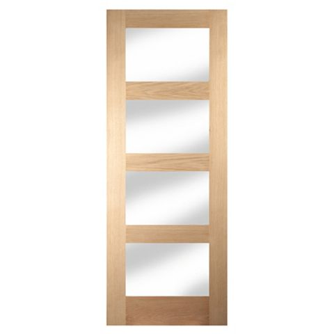 4 Panel Shaker Oak Veneer Internal Door, (H)1981mm (W)838mm