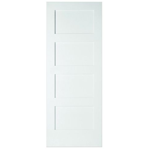 4 Panel Shaker Primed Smooth Internal Unglazed Door, (H)1981mm (W)838mm