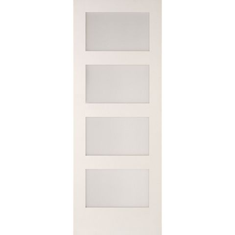 4 Panel Shaker Primed Smooth Glazed Internal Door, (H)1981mm (W)762mm