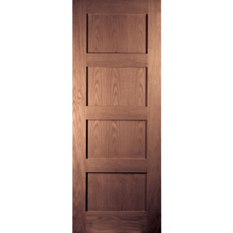 4 Panel Shaker Walnut Veneer Internal Unglazed Door, (H)1981mm (W)610mm