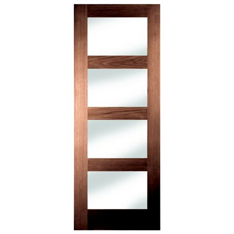 4 Panel Shaker Walnut Veneer Internal Door, (H)1981mm (W)762mm