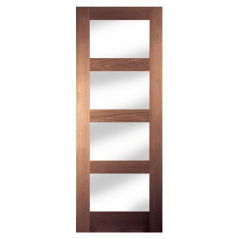 4 Panel Shaker Walnut Veneer Internal Door, (H)1981mm (W)686mm