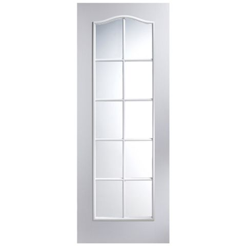 Traditional 2 Panel Arched 10 Lite Primed Internal Door, (H)1981mm (W)838mm
