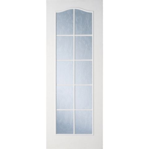 2 Panel Arched 10 Lite Primed Glazed Internal Door, (H)2040mm (W)726mm