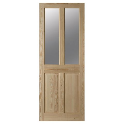 4 Panel Clear Pine Glazed Internal Door, (H)1981mm (W)762mm