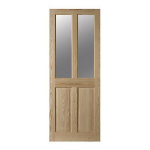 4 Panel Clear Pine Glazed Internal Door, (H)1981mm (W)686mm