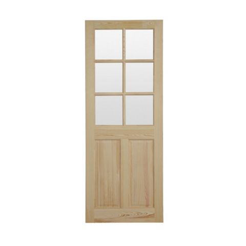 6 Panel Clear Pine Internal Door, (H)1981mm (W)686mm