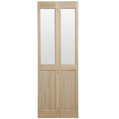 4 Panel Clear Pine Glazed Internal Bi-Fold Door, (H)1981mm (W)762mm