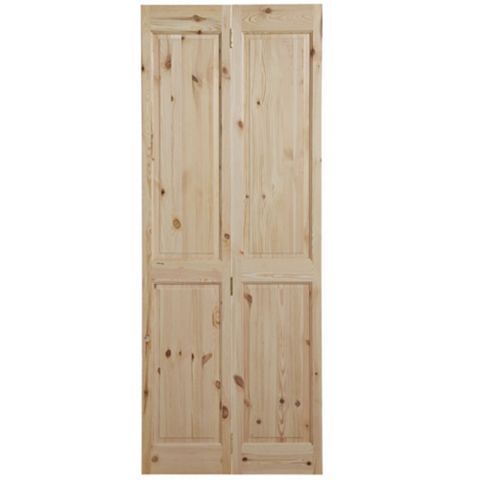4 Panel Knotty Pine Internal Bi-Fold Door, (H)1981mm (W)686mm