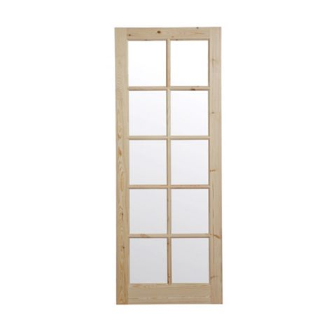 10 Lite Knotty Pine Glazed Internal Door, (H)1981mm (W)762mm
