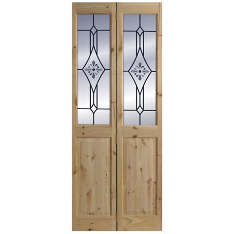 4 Panel Knotty Pine Glazed Internal Bi-Fold Door, (H)2040mm (W)726mm