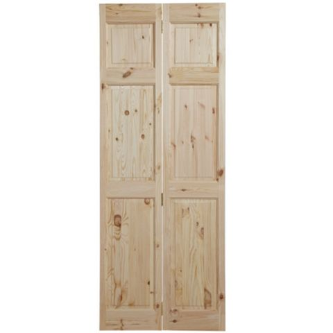 6 Panel Knotty Pine Internal Bi-Fold Door, (H)1981mm (W)686mm