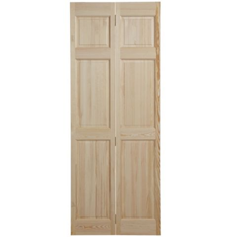 6 Panel Clear Pine Internal Bi-Fold Door, (H)1981mm (W)686mm