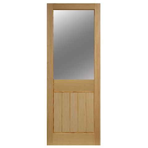 Cottage 2 Panel Clear Pine Glazed Internal Door, (H)1981mm (W)762mm