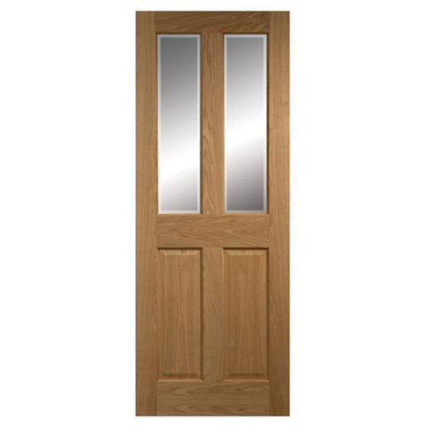 4 Panel Oak Veneer Glazed Internal Door, (H)2040mm (W)826mm