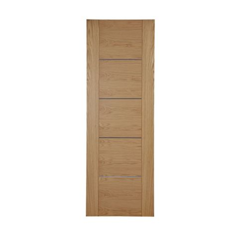 Flush 5 Panel Oak Veneer Internal Door, (H)1981mm (W)610mm