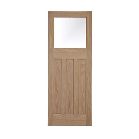 Traditional Panelled Oak Veneer Glazed Internal Door, (H)1981mm (W)686mm