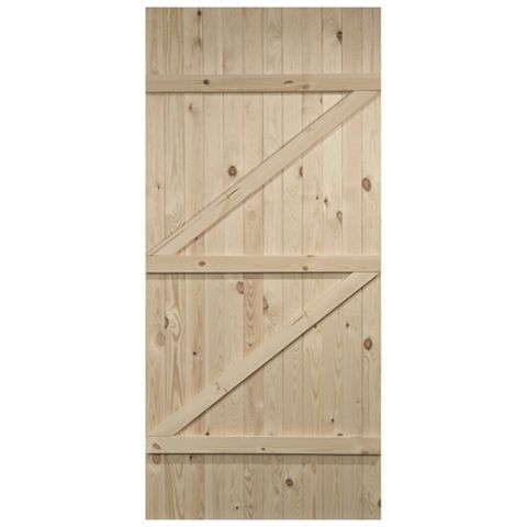 Cottage Panelled Ledged And Braced Knotty Pine Internal Door, (H)1981mm (W)686mm