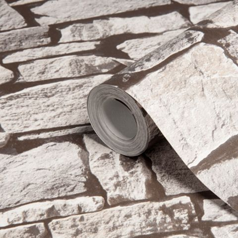 Grey Stone Effect Wallpaper