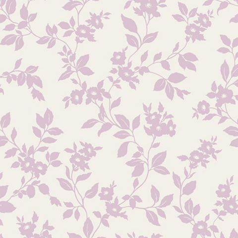 Mayflower Floral Lilac & White Mica Effect Shimmer Wallpaper