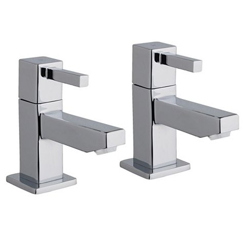 Cooke & Lewis Meribel Chrome Hot & Cold Basin Pillar Tap, Pack of 2