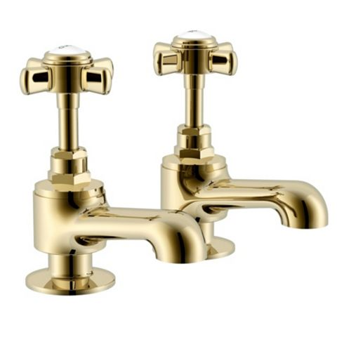 Cooke & Lewis Classic Gold Effect Bath Pillar Tap