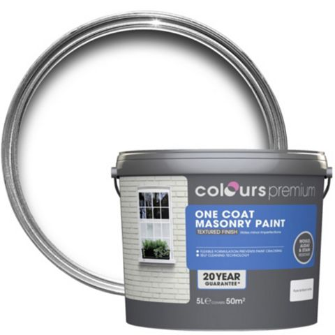 Colours Premium One Coat White Textured Masonry Paint 5L