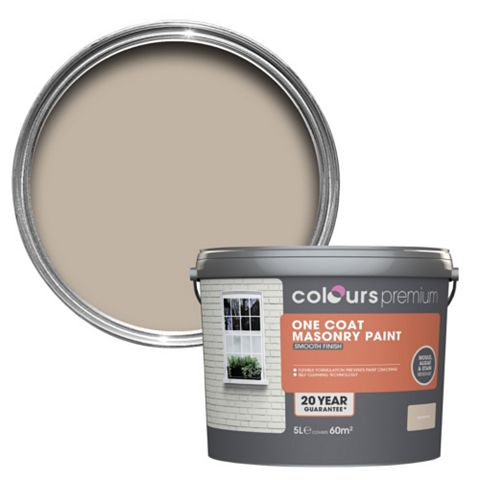 Colours Premium One Coat Sandstone Beige Smooth Masonry Paint 5L