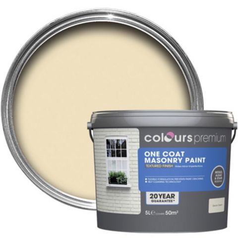 Colours Premium One Coat Devon Cream Textured Masonry Paint 5L