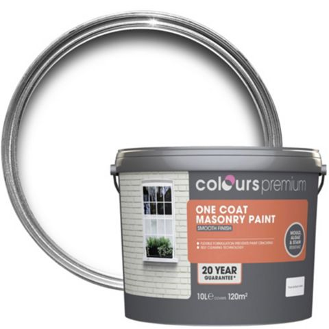 Colours Premium One Coat Pure Brilliant White Smooth Masonry Paint 10L