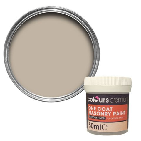 Colours Premium One Coat Sandstone Beige Smooth Masonry Paint 50ml Tester Pot